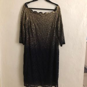 Marina Lace Dress Gold & Navy Blue Size 18w